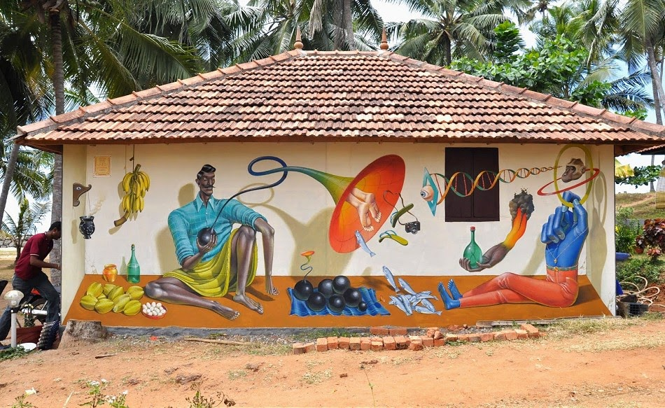 """While you were recently discovering the new works by Waone from Interesni Kazki in Varkala, India, the other part of the Ukrainian art duo, AEC, was working on his piece in the same area. Titled """"Seller of Black Holes"""", this piece is painted on a local house on the waterfront in Varkala."""
