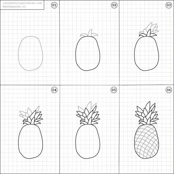 Learn to draw pineapple for kids