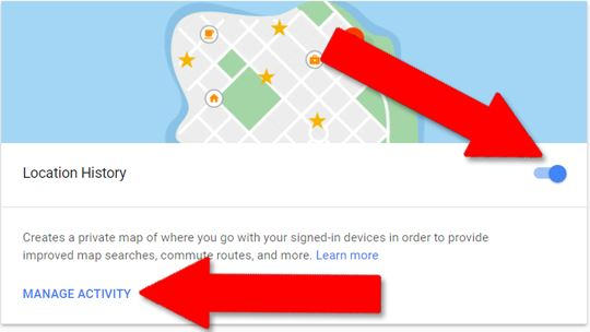 hapus lokasi di Google