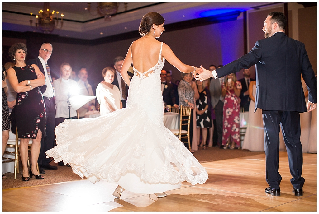 romantic first dance between bride and groom in ballroom reception at Omni Montelucia