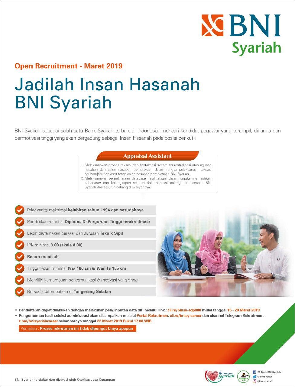 Lowongan BANK BNI SYARIAH Pendidikan minimal Diploma Tahun 2019