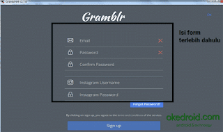 Isi form  Signup Gramblr di Desktop