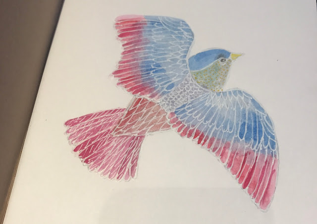 A red and blue bird in water colours with white outlines
