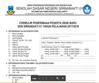 Formulir Penerimaan Siswa Baru SD Tahun 2017 - 2018