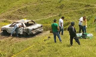 Hallan taxi de Alamo con tres cuerpos calcinados en Tihuatlan Veracruz