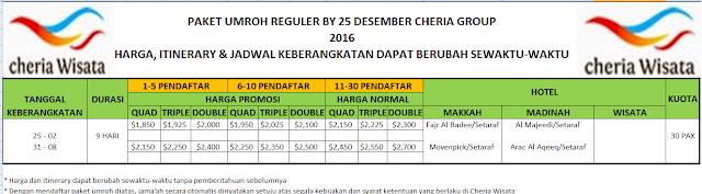 PAKET UMROH REGULER BY 25 DESEMBER 2016 CHERIA GRUOP