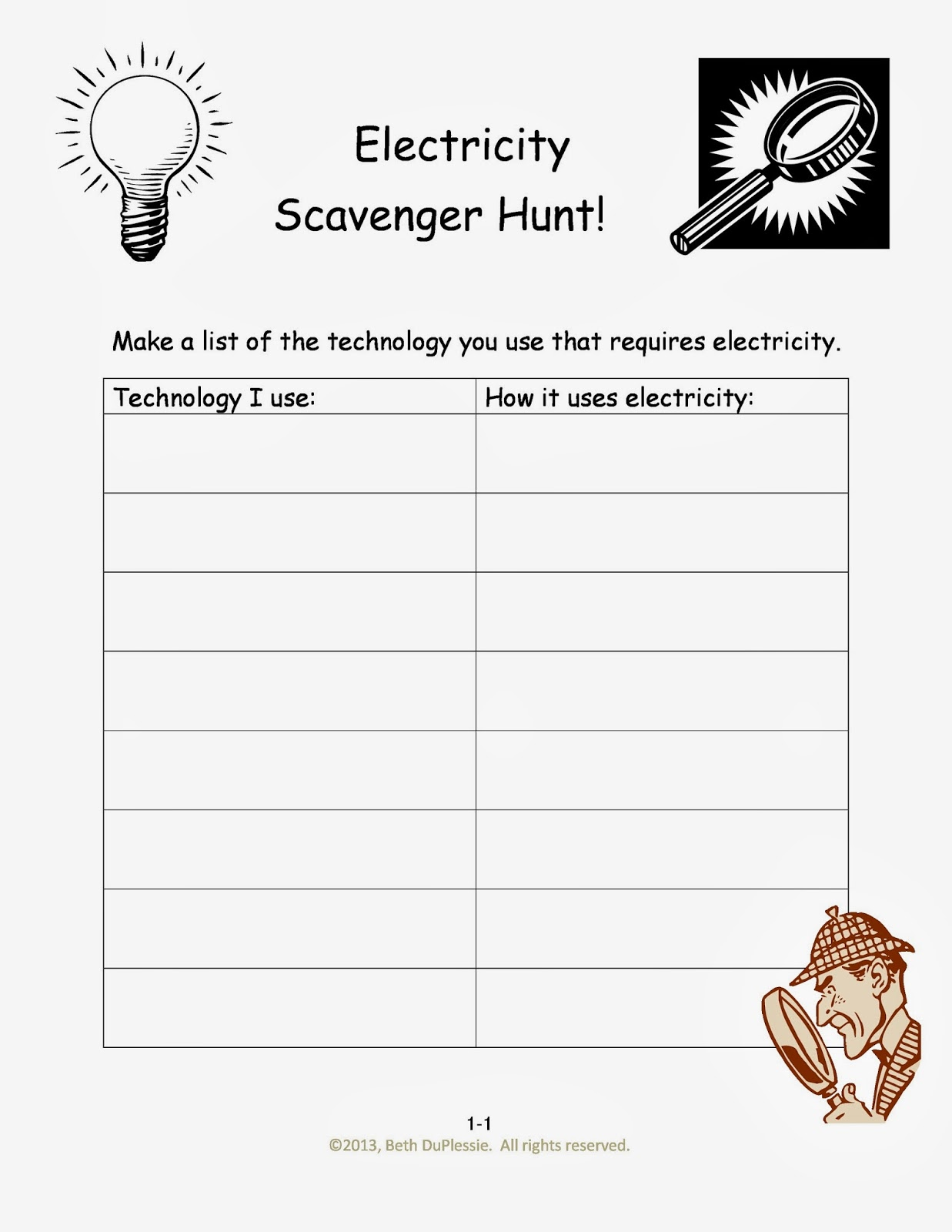 Worksheet Science Electricity