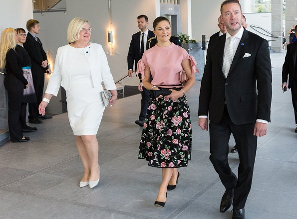 Princess Victoria wore Daisy Grace top, Camilla Thulin floral print skirt, Gianvito Rossi suede pumps, carried Stella McCartney clutch