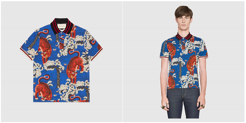ab653a14 A stretch cotton polo featuring the Gucci Bengal print, introduced for  Cruise 2017. The print depicts tigers scattered amongst a colourful forest  ...