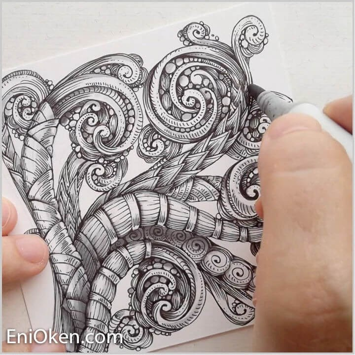 12-Shading-Tangled-Scroll-Work-Eni-Oken-Ink-and-Pencil-Fantasy-and-Zentangle-Drawings-www-designstack-co