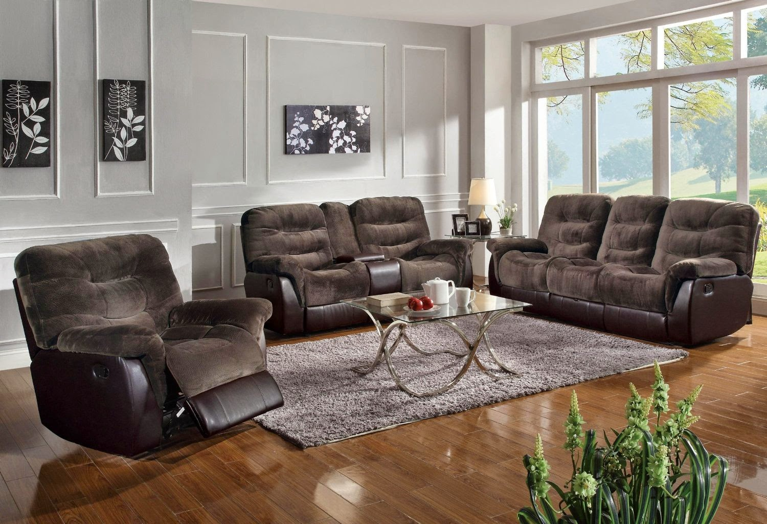 Small Recliner Sofa Wrap Around Couch Leather Sectional