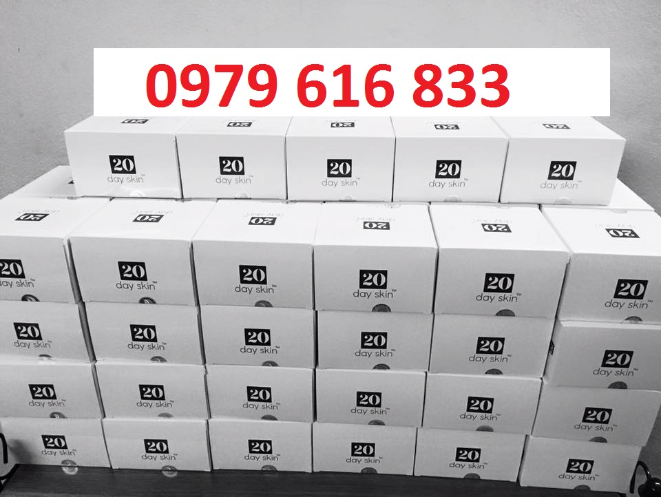 Đây là hình ảnh sản phẩm 20dayskin, bạn có thể tìm được ở các tiệm thuốc  tây trên toàn quốc. Giá của 1 hộp là 440k, mình bán rẻ hơn thị trường 10k.