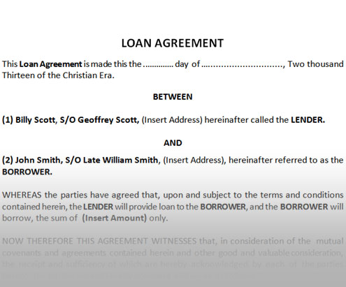 Contract Modification Template download get 1800 business – Sample of Loan Agreement Letter