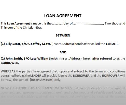Sample Loan Deed Ink of Life - cash loan agreement sample