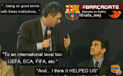 Villar from Spanish FA (RFEF) congratulating Joan  Laporta president of FC Barcelona, july 2003 Barçagate