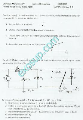 examens corrigés électronique de base SMP S4 FS Rabat