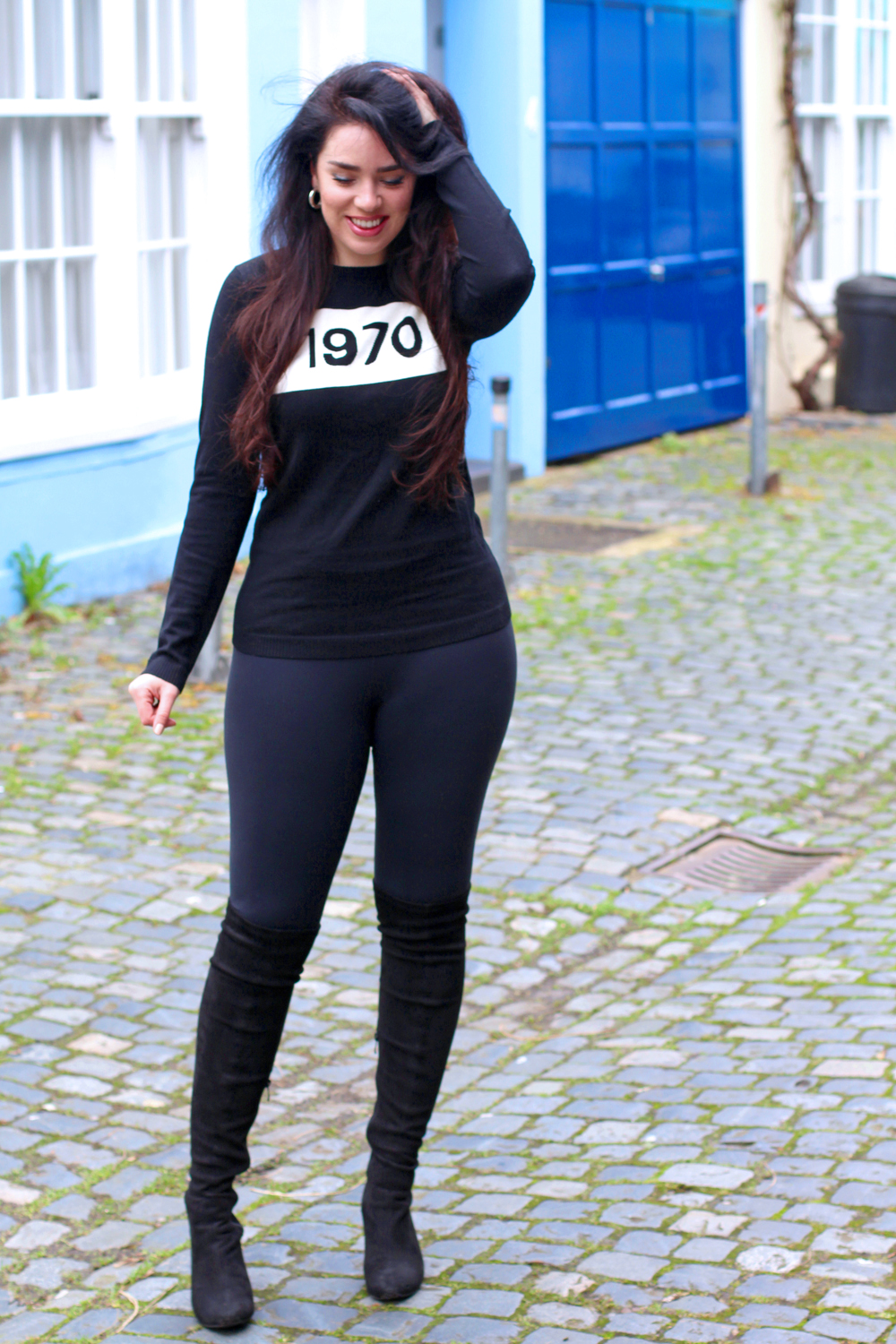 Black 1970 Bella Freud jumper on Emma Louise Layla - London style blogger