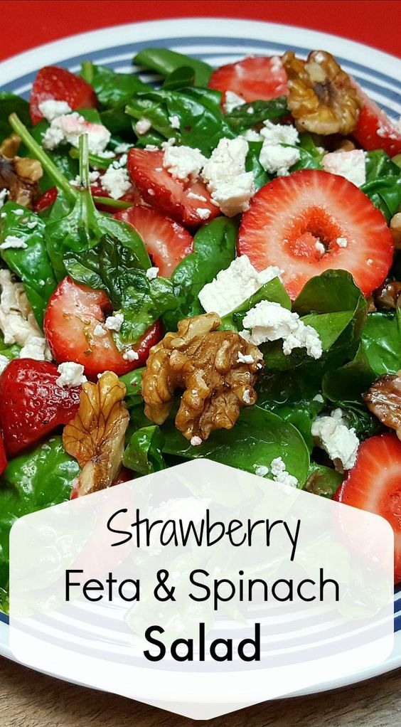 This salad uses a whole lot of strawberries and has the extra protein and nutrition of walnuts and feta cheese. It's pretty, satisfying and can be on the table quickly.
