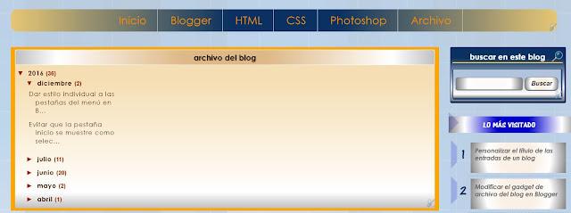 Modificar estilo widget Archivo del blog