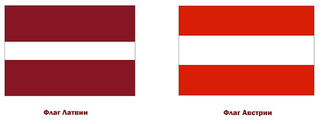 флаги Латвии и Австрии
