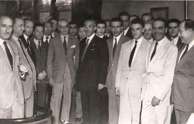 1951 - Visita del equipo lisboeta al local social del Club Ajedrez Ruy López Tívoli - Todos los responsables del evento