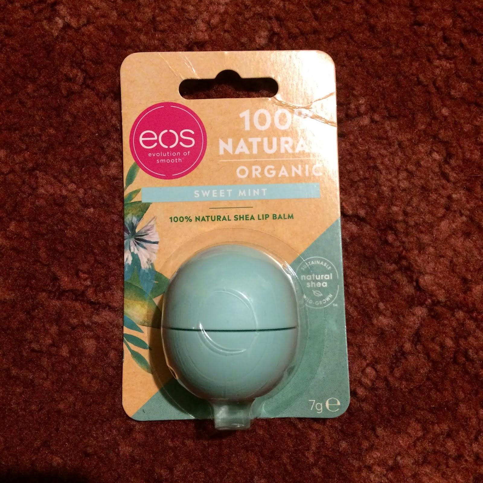 An EOS 100% natural organic sweet mint shea lip balm