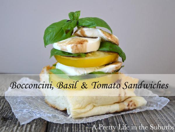 Bocconcini, Basil & Tomato Sandwiches