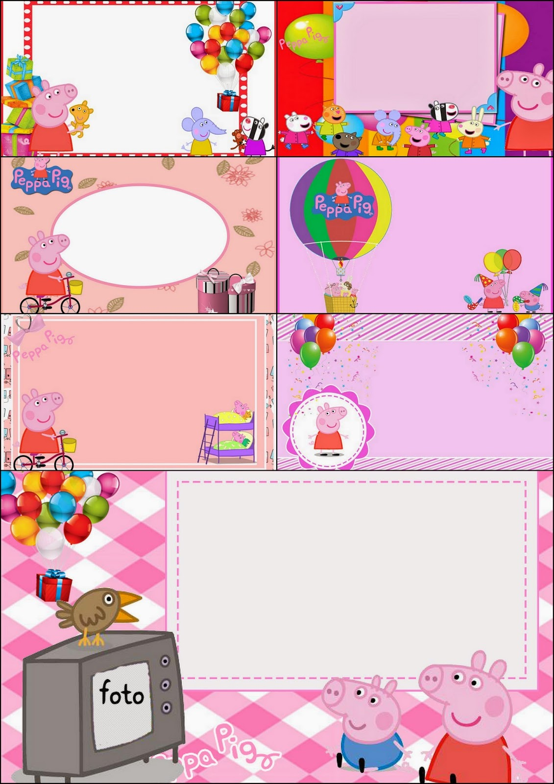 Peppa pig free printable invitations labels or cards for Albercas para fiestas