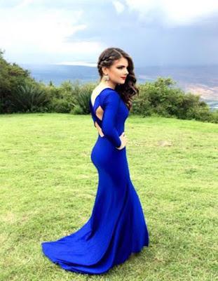 vestido largo azul elegante para fiesta