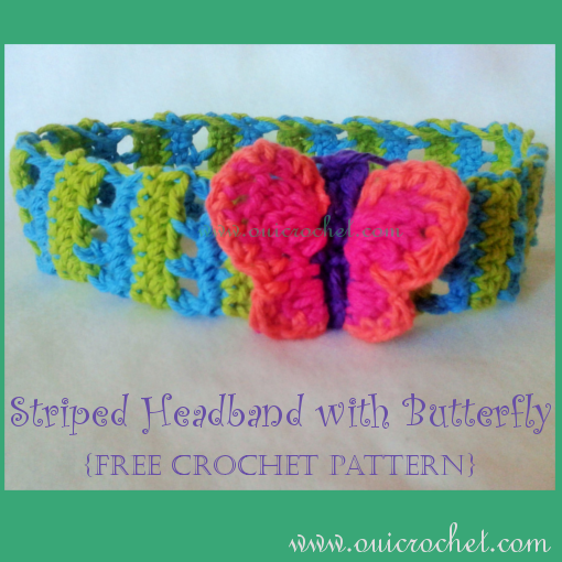 Crochet, Free Crochet Pattern, Crochet Headband, Butterfly Headband, Striped Headband, Crochet Hair Accessories,
