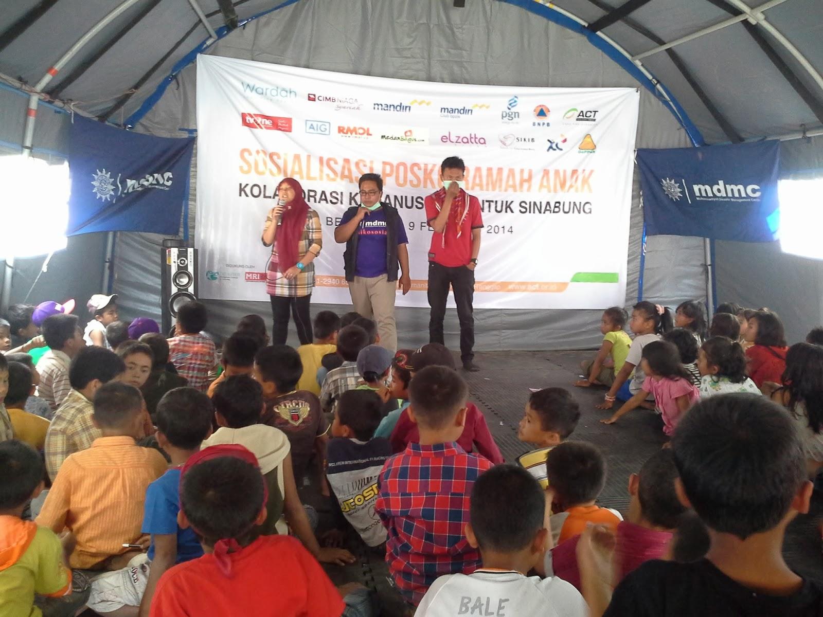 Posko Ramah Anak di Sinabung