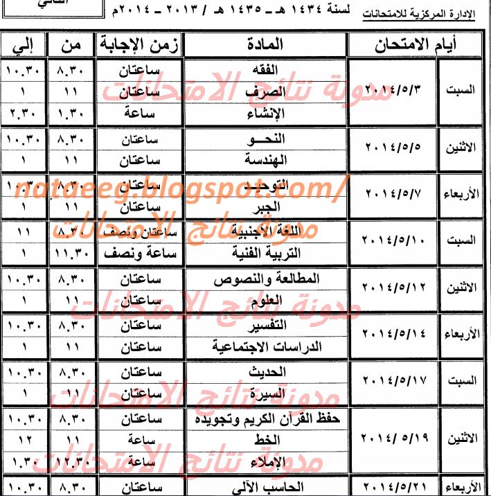جدول امتحانات الصف الثالث الاعدادى الازهرى 2014 الترم الثانى - أخر العام