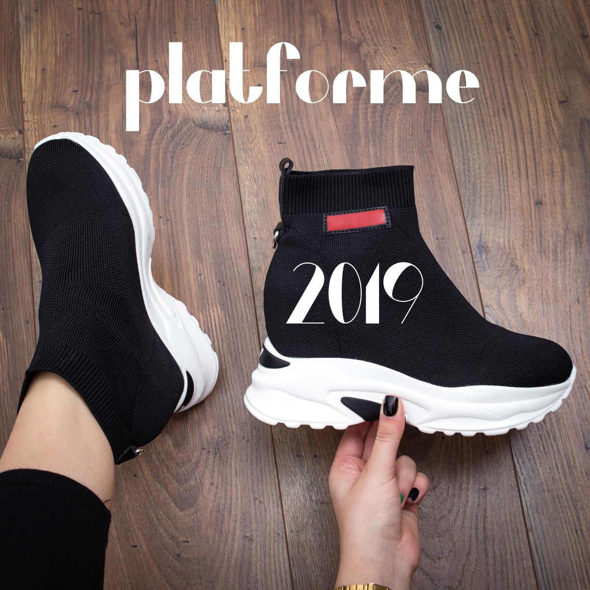 Adidasi cu platforma inalta negri, argintii, albi la moda 2019 ieftini