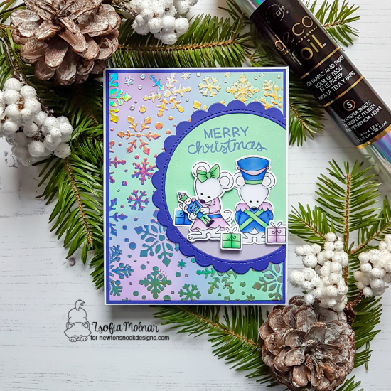 Newton's Nook Designs & Therm O Web Inspiration Week | Christmas Mice Card by Zsofia Molnar | The Nutcracker Squeak Stamp Set and Snowfall Stencil by Newton's Nook Designs and Foils by Therm O Web #newtonsnook #thermoweb