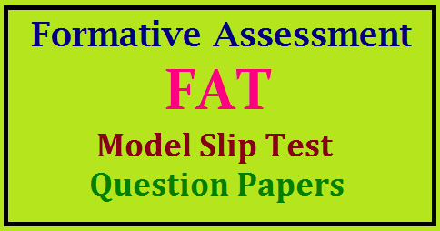 Formative Assessment 1 Model Slip Test Question Papers
