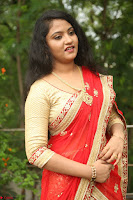 Akshara in Red Saree Golden Choli at LV Movie Makers Production No 1 Movie Opening ~  Exclusive 141.JPG