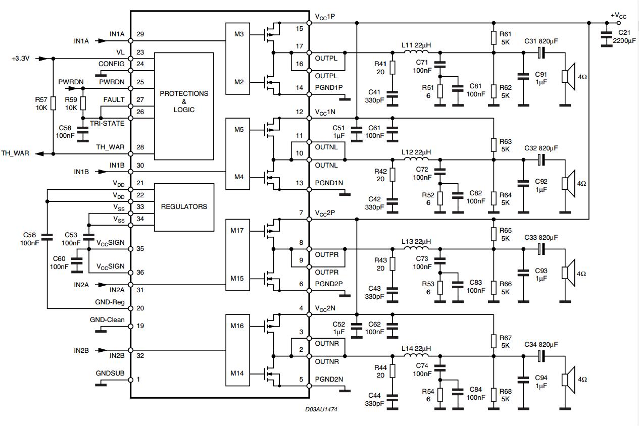 40 w btl quad car radio power amplifier