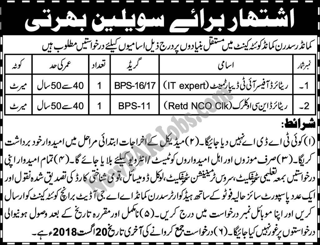 Commander Sadran Command Quetta Cantt jobs