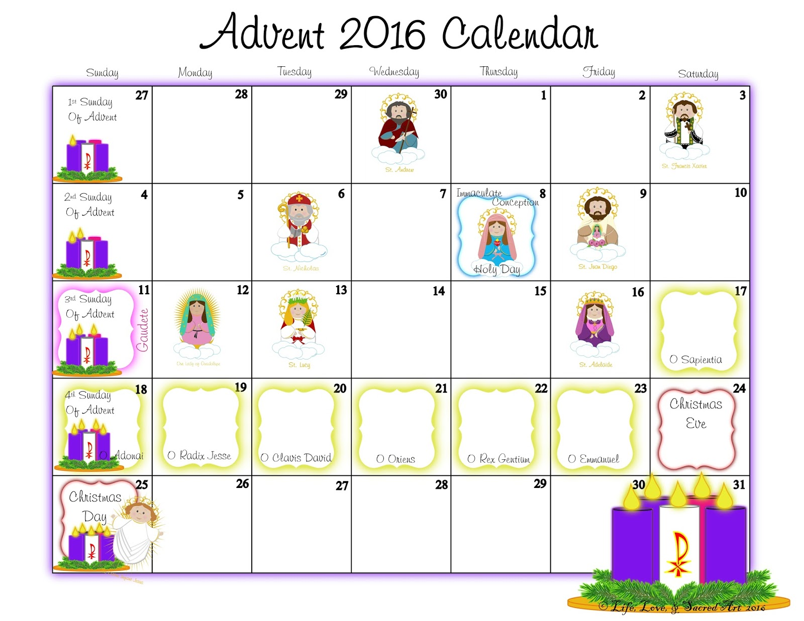 Advent Calendar 2016 : Life love sacred art free advent calendar coloring page