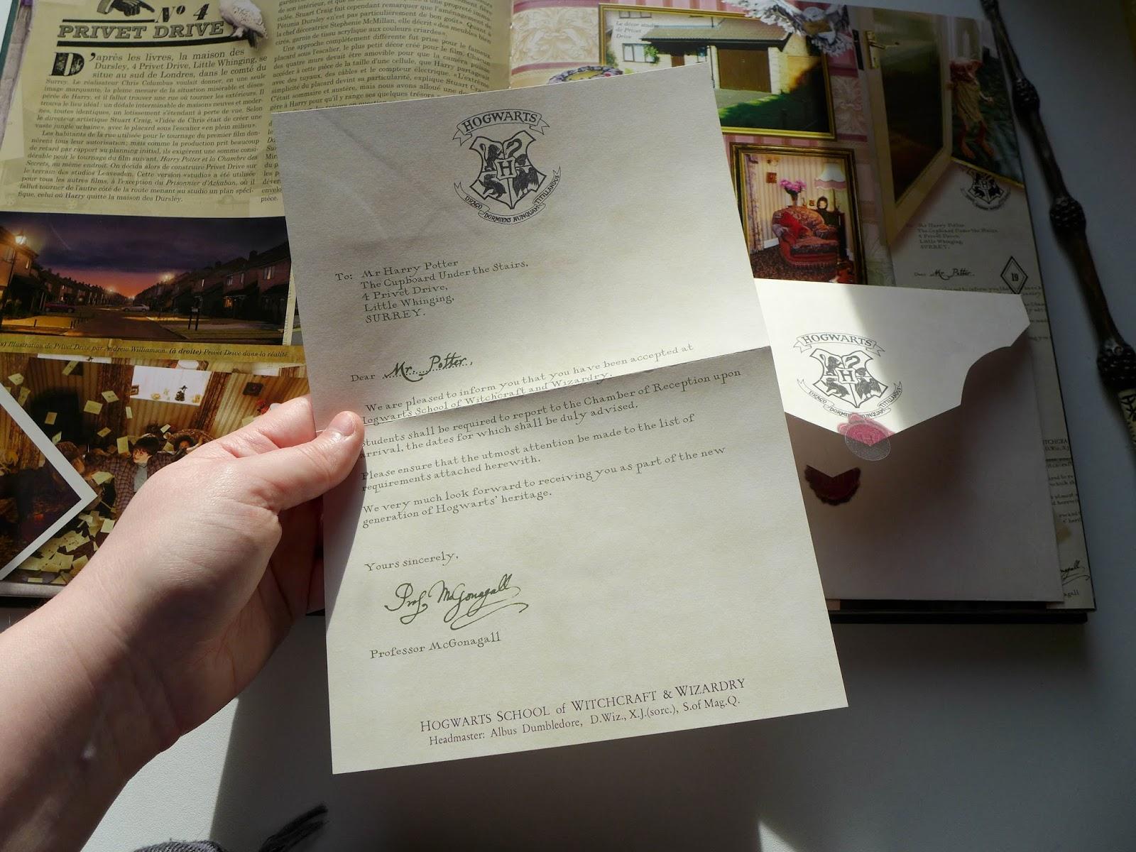 lettre admission de poudlard
