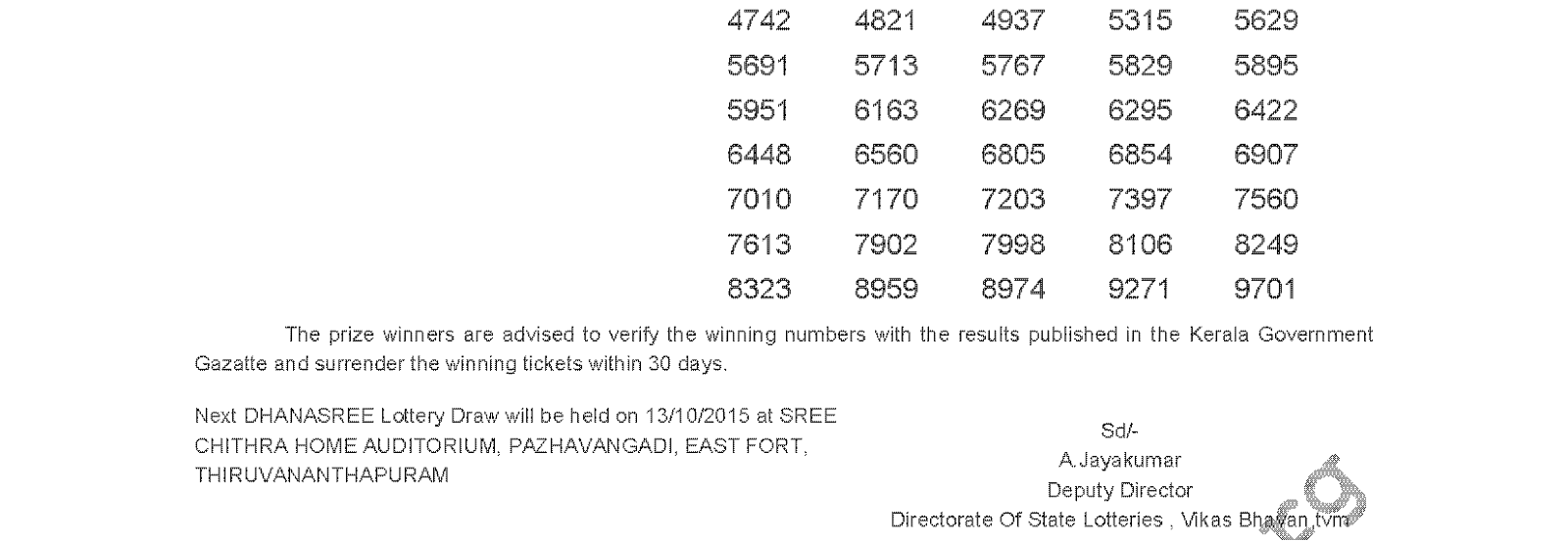 DHANASREE Lottery DS 206 Result 6-10-2015