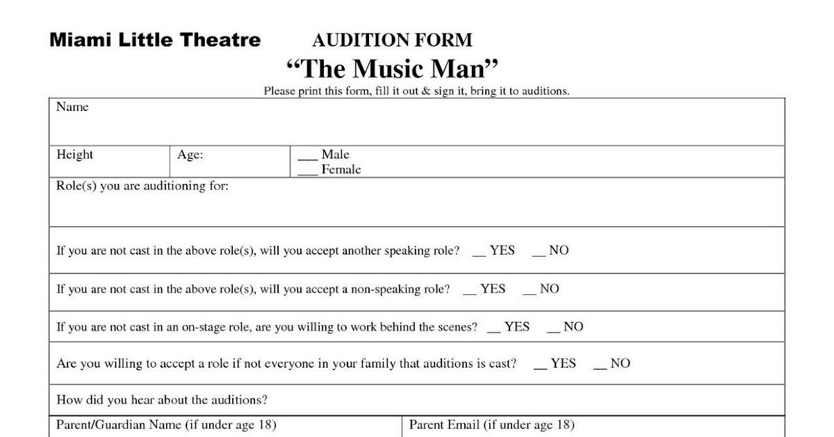 Miami Little Theatre Audition Form for \ - audition form