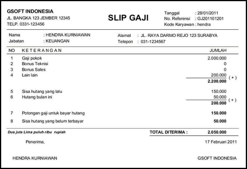 contoh slip gaji