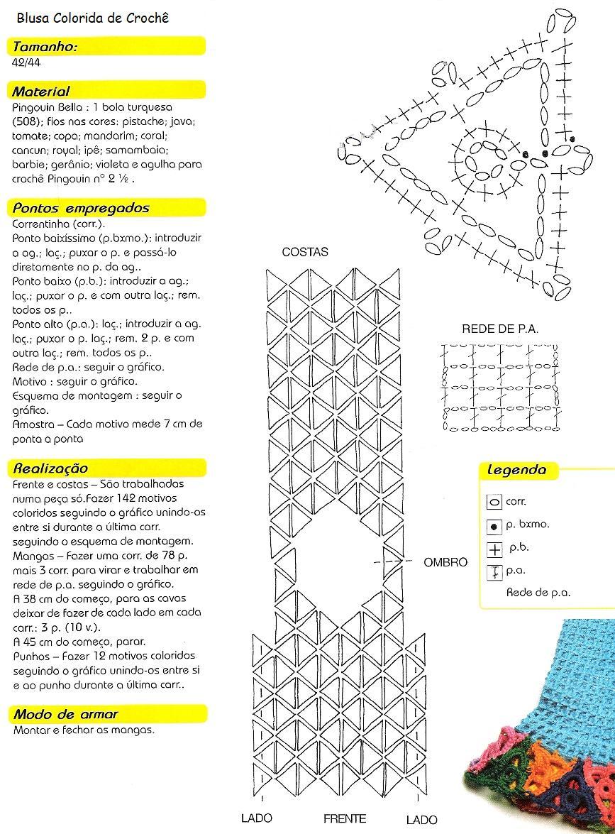 Jersey Triangulos Abstractos de Crochet Patron