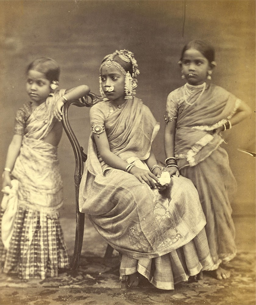 Studio portrait of Three Girls wearing jewellery - Madras (Chennai), Tamil Nadu 1870's