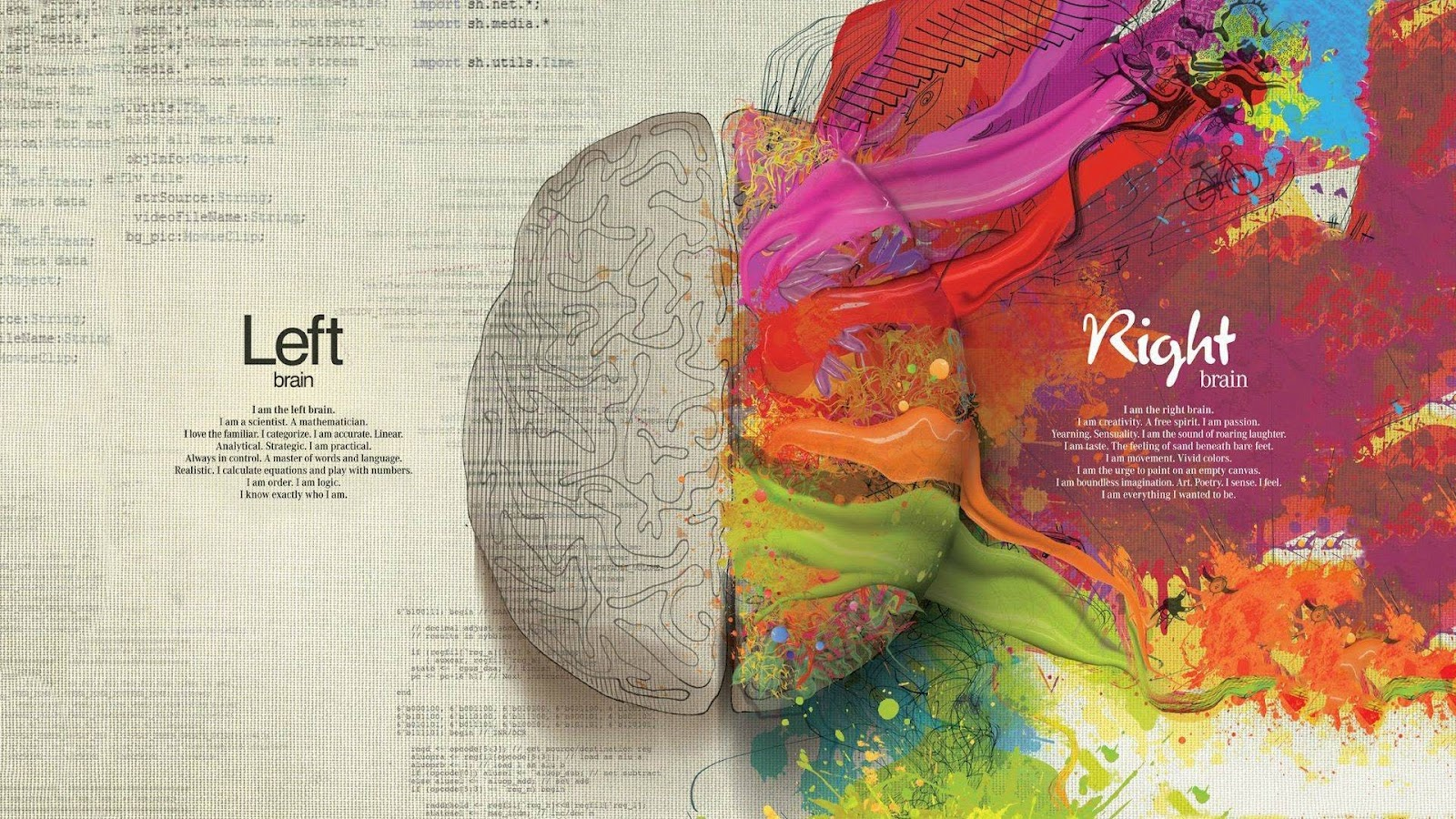 left and right sight of brain with medical explanation of mental