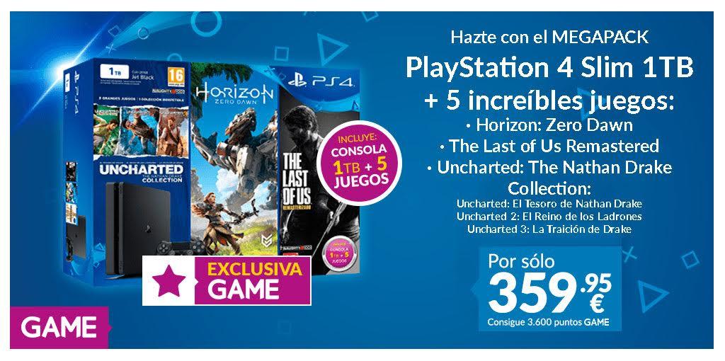 GAME anuncia megapack con PlayStation 4, mando y 5 juegos por 359,95 euros