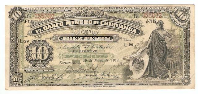 Mexican bank notes 10 Pesos banknote bill Banco Minero de Chihuahua