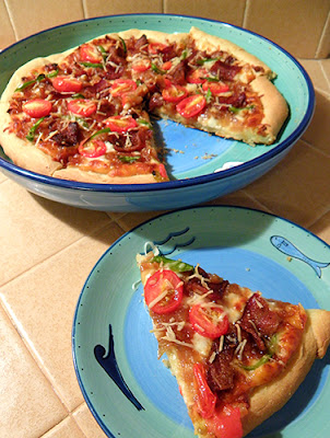 Seasonal Eating Bacon And Caramelized Onion Pizza