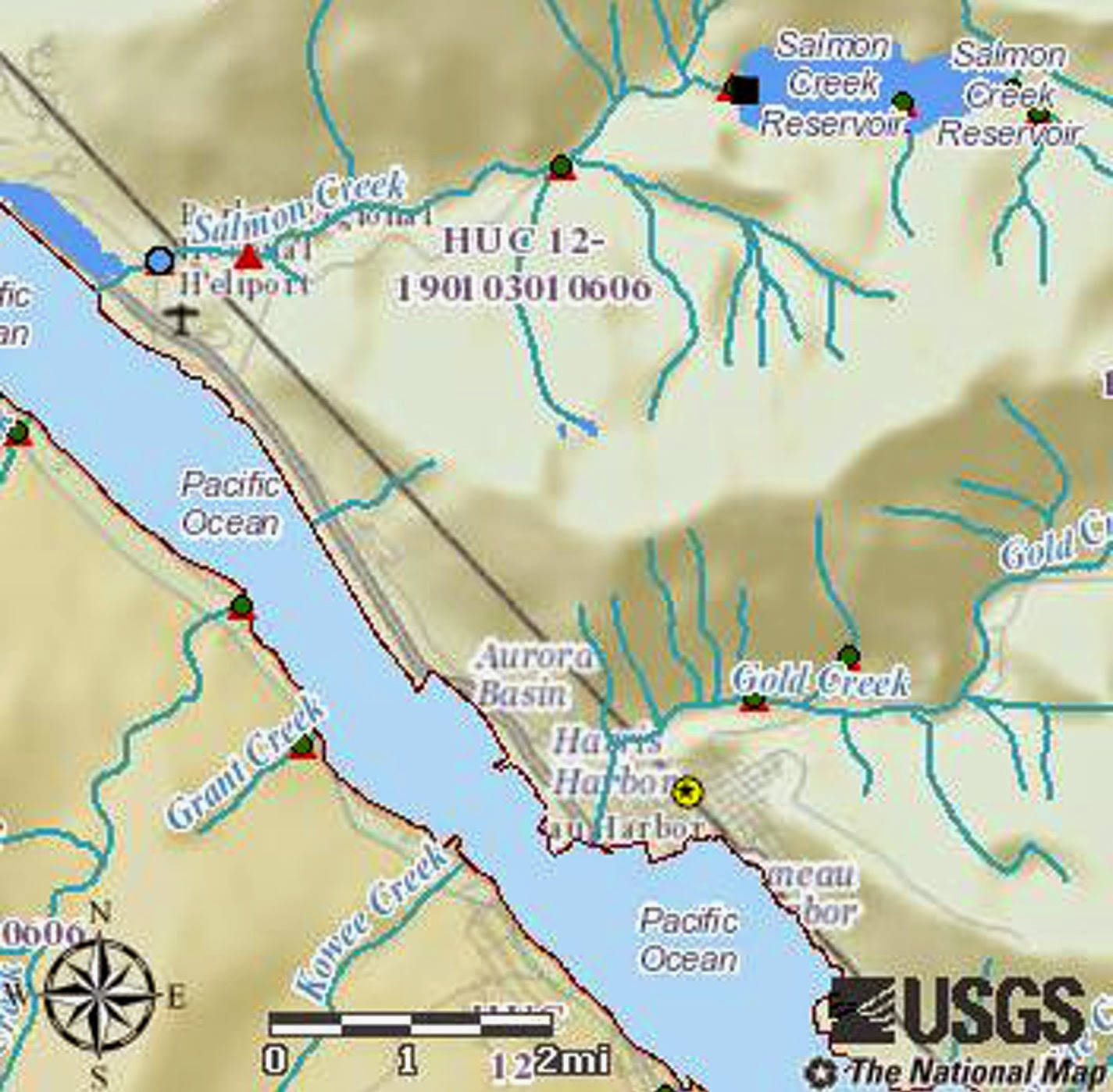 map showing area from juneau to salmon creek
